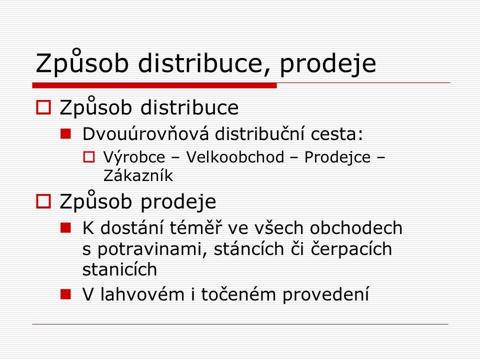 Způsob distribuce, prodeje  Způsob distribuce Dvouúrovňová distribuční cesta:  Výrobce – Velkoobchod – Prodejce – Zákazník  Způsob prodeje K dostán
