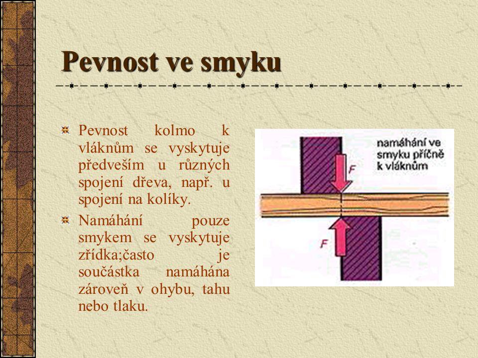 Pevnost ve smyku Pevnost ve smyku ve směru vláken se vyskytuje u zaklínování ozubů, svlakování a vyztužení např. krovů. Vyskytuje se i u obrábění dřev