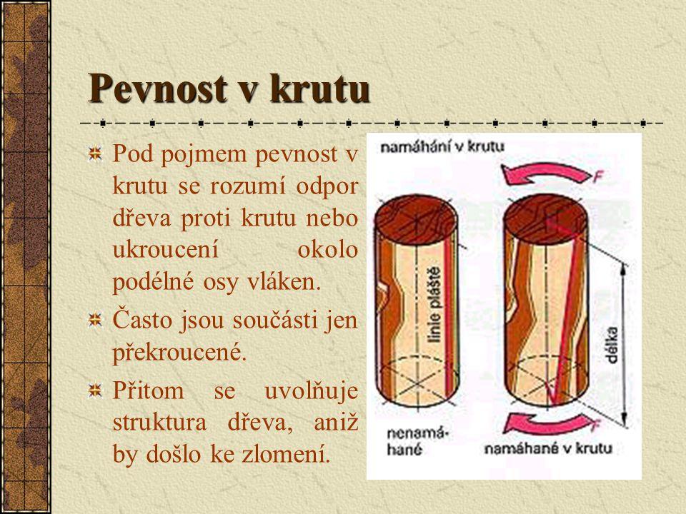 Pevnost ve smyku Pevnost kolmo k vláknům se vyskytuje předveším u různých spojení dřeva, např. u spojení na kolíky. Namáhání pouze smykem se vyskytuje