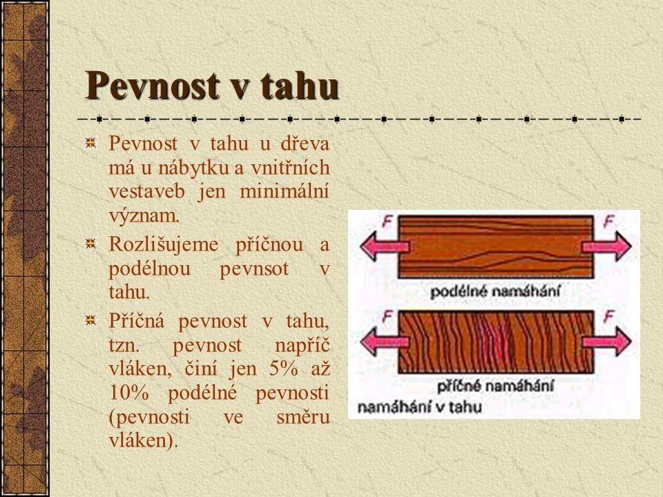 Pevnost Pod pojmem pevnost rozumíme vnitřní odpor dřeva proti vnějším silám. Podle druhu zatížení rozlišujeme pevnost v: tlaku, ohybu, smyku, krutu, v