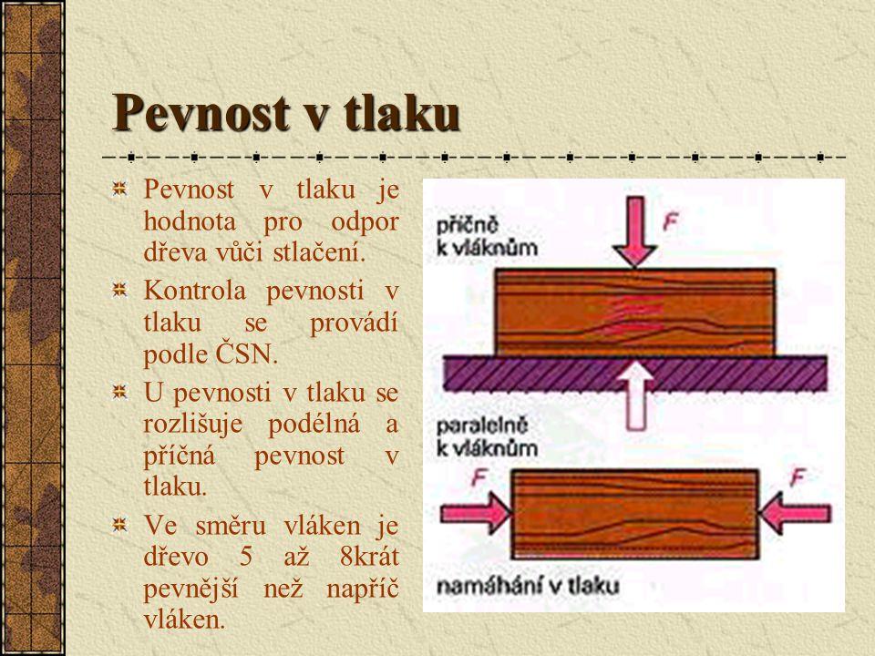Pevnost v tlaku Pevnost v tlaku je hodnota pro odpor dřeva vůči stlačení.