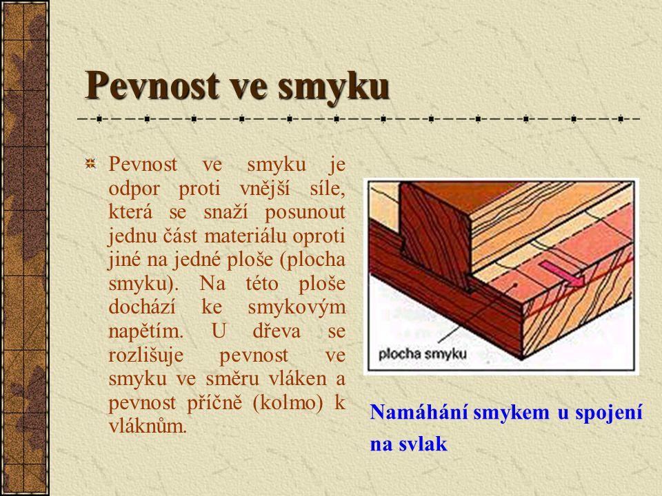Pevnost ve smyku Pevnost ve smyku je odpor proti vnější síle, která se snaží posunout jednu část materiálu oproti jiné na jedné ploše (plocha smyku).