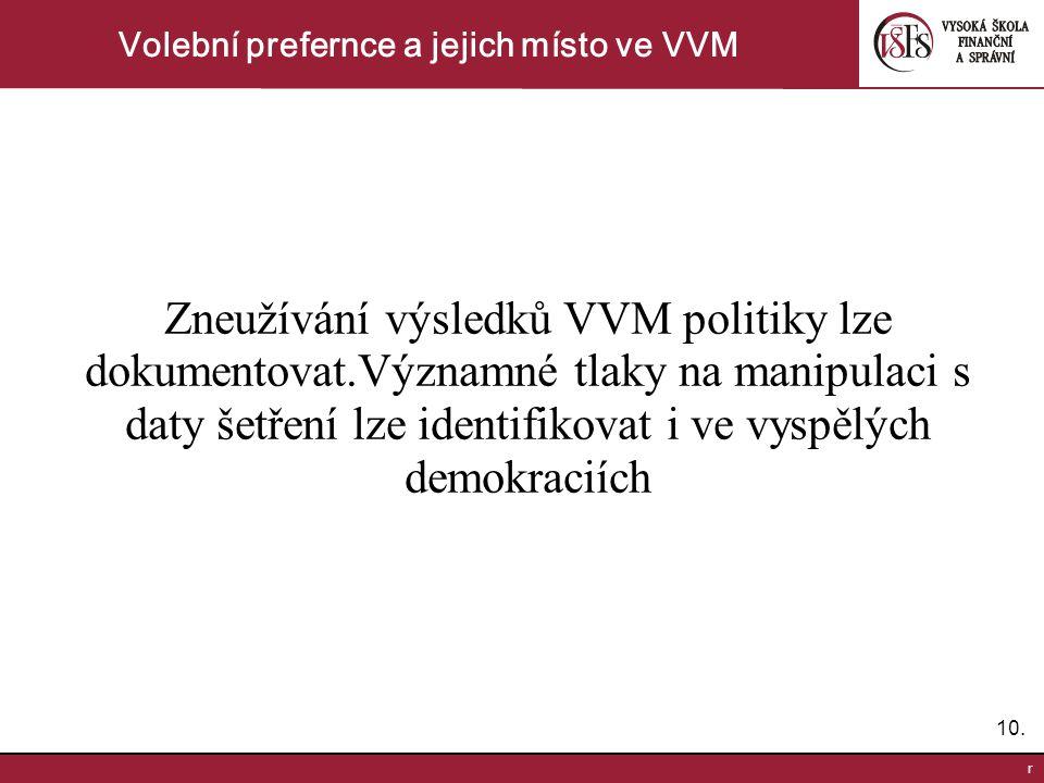 10. r Volební prefernce a jejich místo ve VVM Zneužívání výsledků VVM politiky lze dokumentovat.Významné tlaky na manipulaci s daty šetření lze identi