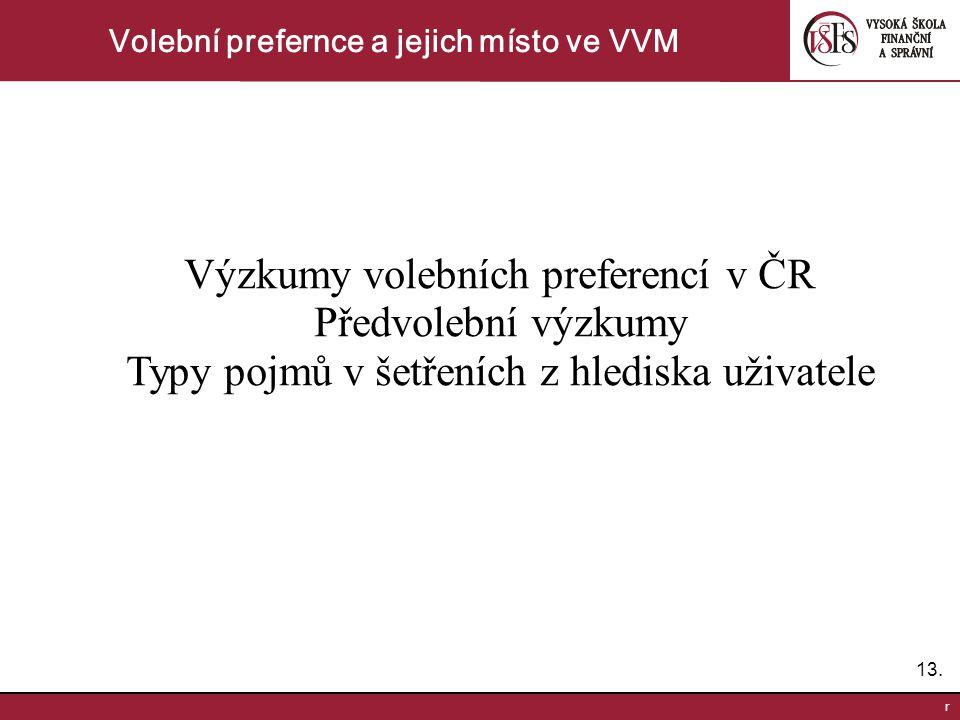 13. r Volební prefernce a jejich místo ve VVM Výzkumy volebních preferencí v ČR Předvolební výzkumy Typy pojmů v šetřeních z hlediska uživatele