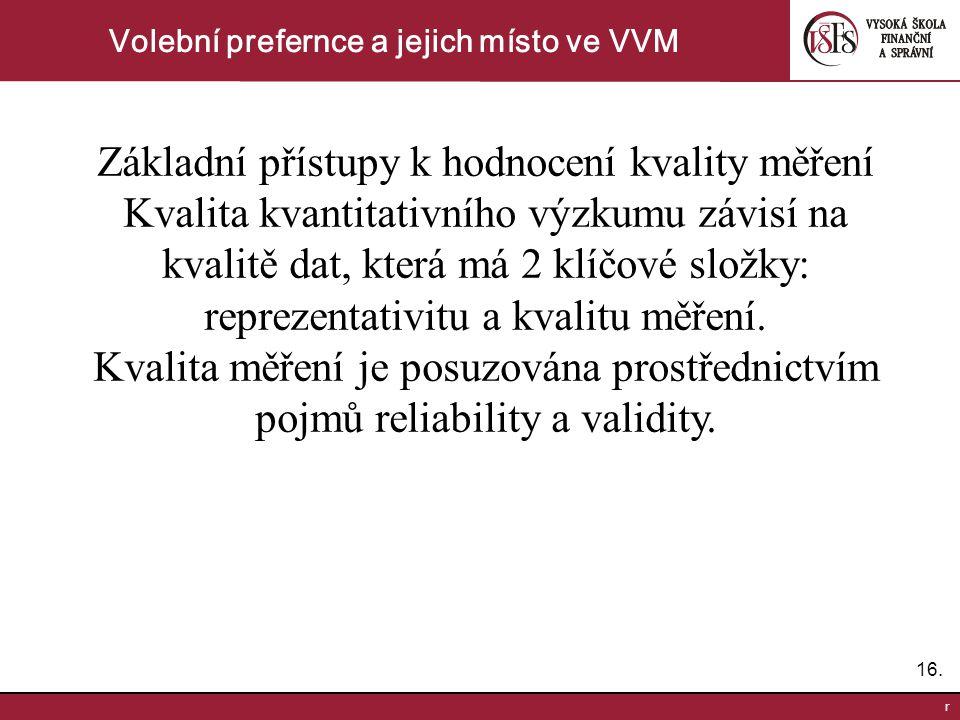 16. r Volební prefernce a jejich místo ve VVM Základní přístupy k hodnocení kvality měření Kvalita kvantitativního výzkumu závisí na kvalitě dat, kter