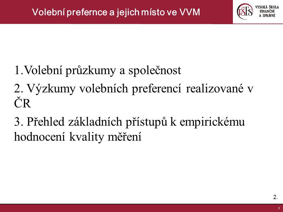 2.2.r Volební prefernce a jejich místo ve VVM 1.Volební průzkumy a společnost 2.