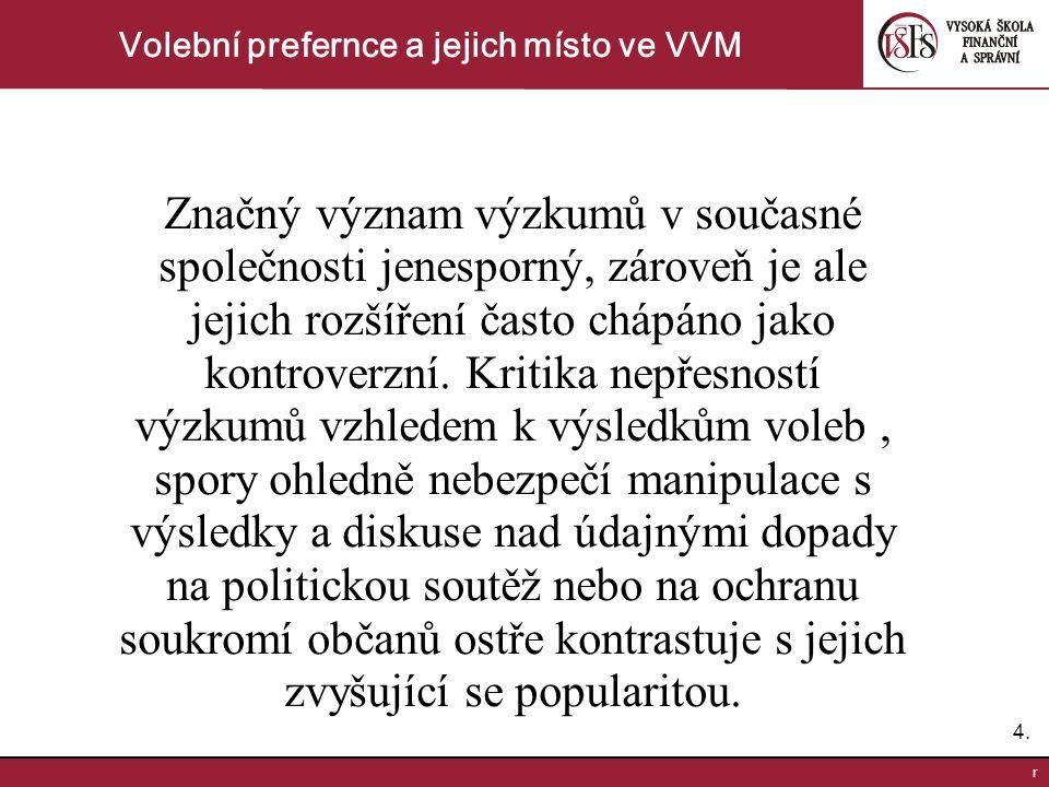4.4. r Volební prefernce a jejich místo ve VVM Značný význam výzkumů v současné společnosti jenesporný, zároveň je ale jejich rozšíření často chápáno