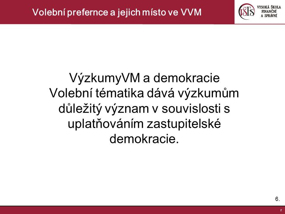 6.6. r Volební prefernce a jejich místo ve VVM VýzkumyVM a demokracie Volební tématika dává výzkumům důležitý význam v souvislosti s uplatňováním zast