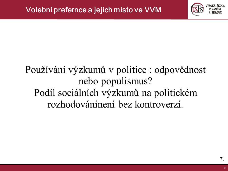 7.7. r Volební prefernce a jejich místo ve VVM Používání výzkumů v politice : odpovědnost nebo populismus? Podíl sociálních výzkumů na politickém rozh