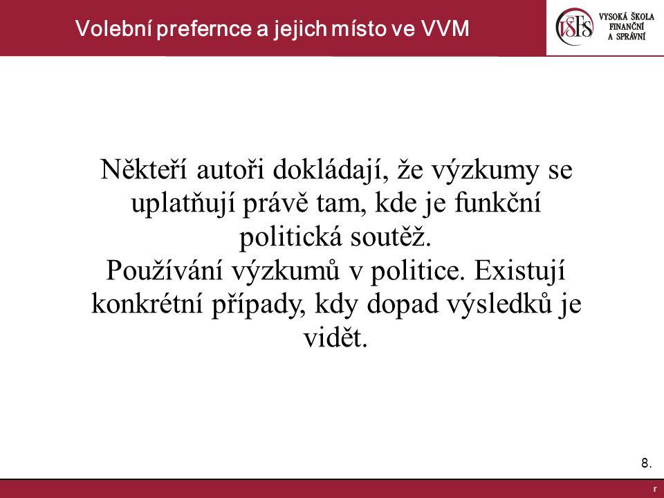 8.8. r Volební prefernce a jejich místo ve VVM Někteří autoři dokládají, že výzkumy se uplatňují právě tam, kde je funkční politická soutěž. Používání