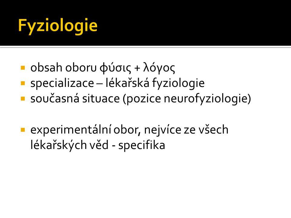  obsah oboru φύσις + λόγος  specializace – lékařská fyziologie  současná situace (pozice neurofyziologie)  experimentální obor, nejvíce ze všech l