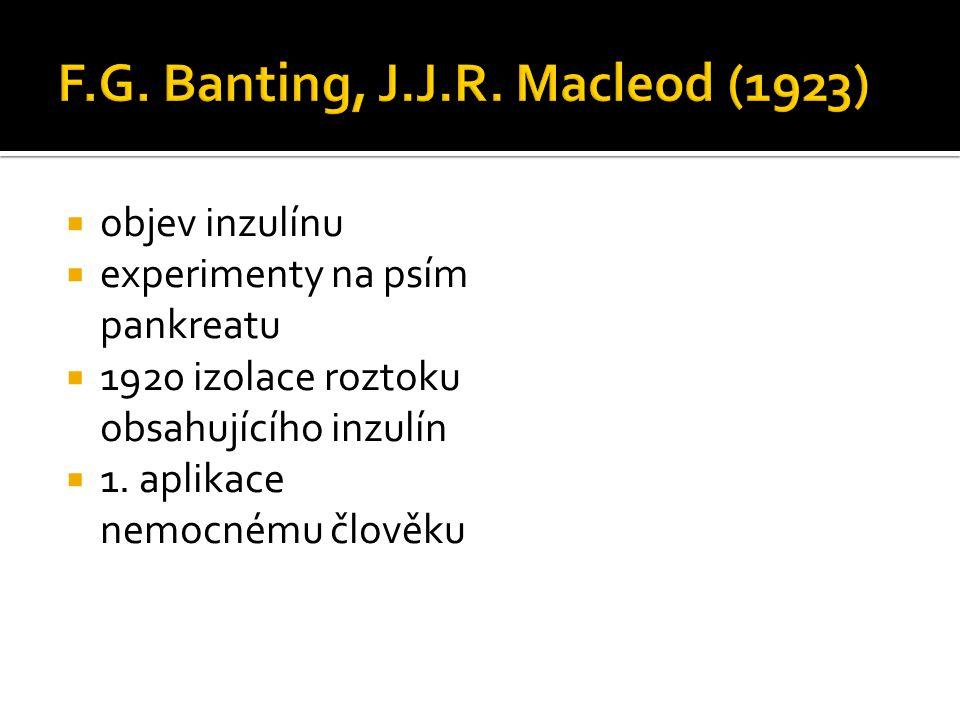  objev inzulínu  experimenty na psím pankreatu  1920 izolace roztoku obsahujícího inzulín  1. aplikace nemocnému člověku
