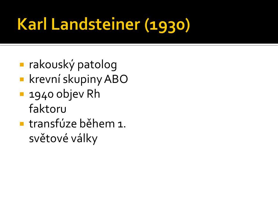  rakouský patolog  krevní skupiny ABO  1940 objev Rh faktoru  transfúze během 1. světové války