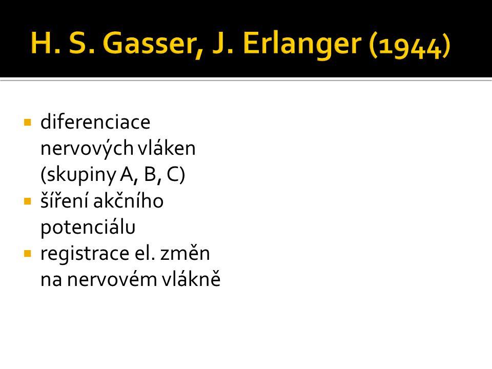  diferenciace nervových vláken (skupiny A, B, C)  šíření akčního potenciálu  registrace el. změn na nervovém vlákně