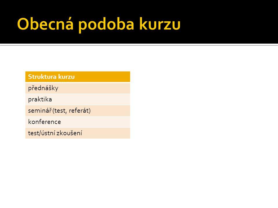 Struktura kurzu přednášky praktika seminář (test, referát) konference test/ústní zkoušení