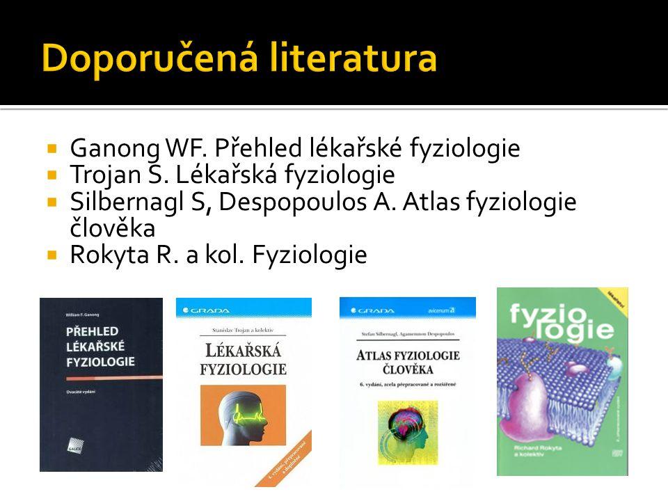  Ganong WF. Přehled lékařské fyziologie  Trojan S. Lékařská fyziologie  Silbernagl S, Despopoulos A. Atlas fyziologie člověka  Rokyta R. a kol. Fy