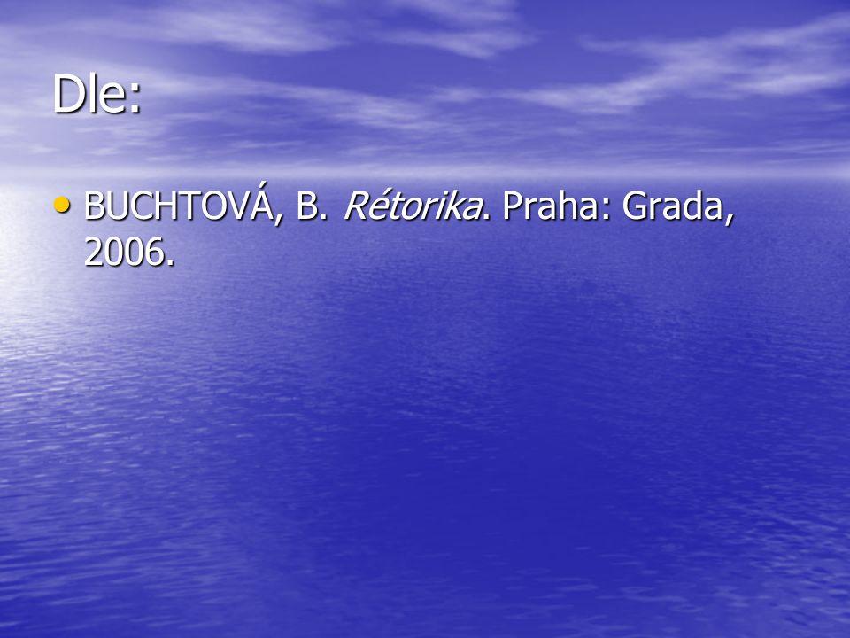 Dle: BUCHTOVÁ, B. Rétorika. Praha: Grada, 2006. BUCHTOVÁ, B. Rétorika. Praha: Grada, 2006.