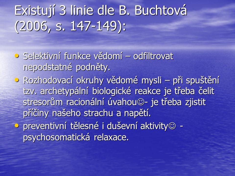 Existují 3 linie dle B. Buchtová (2006, s. 147-149): Selektivní funkce vědomí – odfiltrovat nepodstatné podněty. Selektivní funkce vědomí – odfiltrova