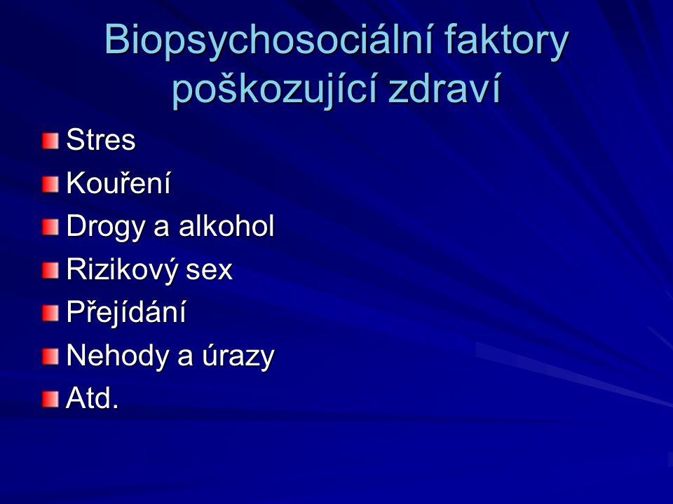 Biopsychosociální faktory poškozující zdraví StresKouření Drogy a alkohol Rizikový sex Přejídání Nehody a úrazy Atd.