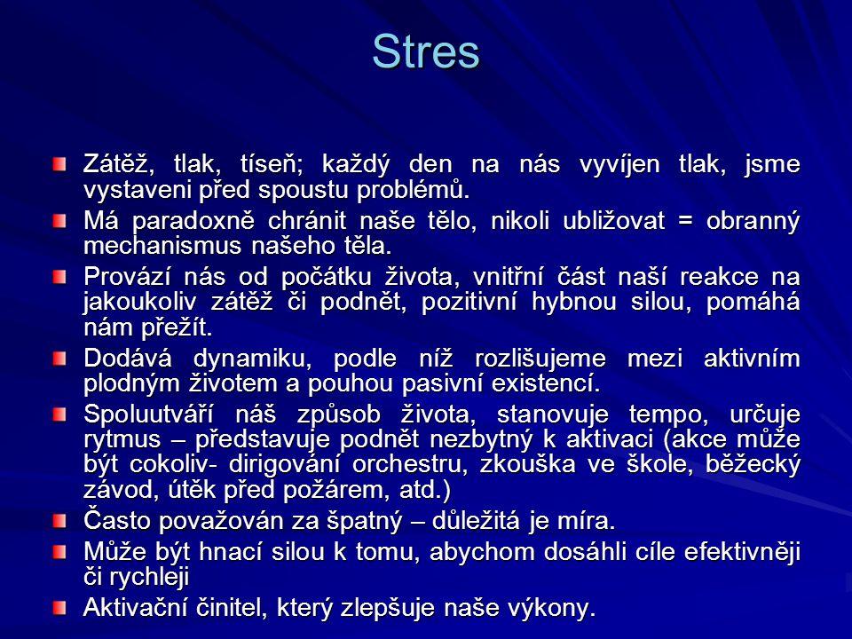 Stres Zátěž, tlak, tíseň; každý den na nás vyvíjen tlak, jsme vystaveni před spoustu problémů. Má paradoxně chránit naše tělo, nikoli ubližovat = obra