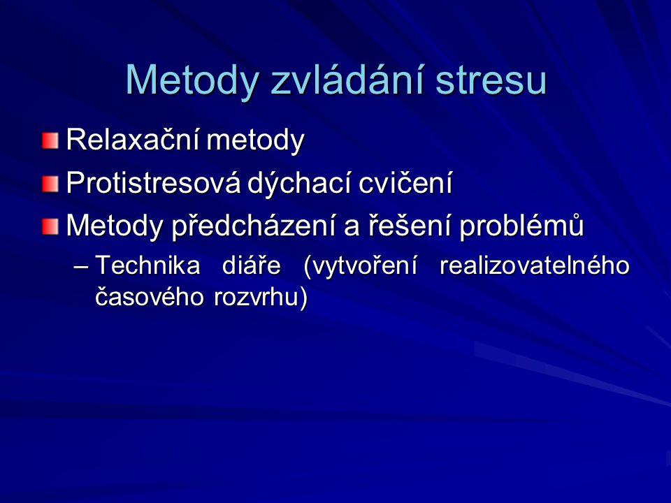 Metody zvládání stresu Relaxační metody Protistresová dýchací cvičení Metody předcházení a řešení problémů –Technika diáře (vytvoření realizovatelného