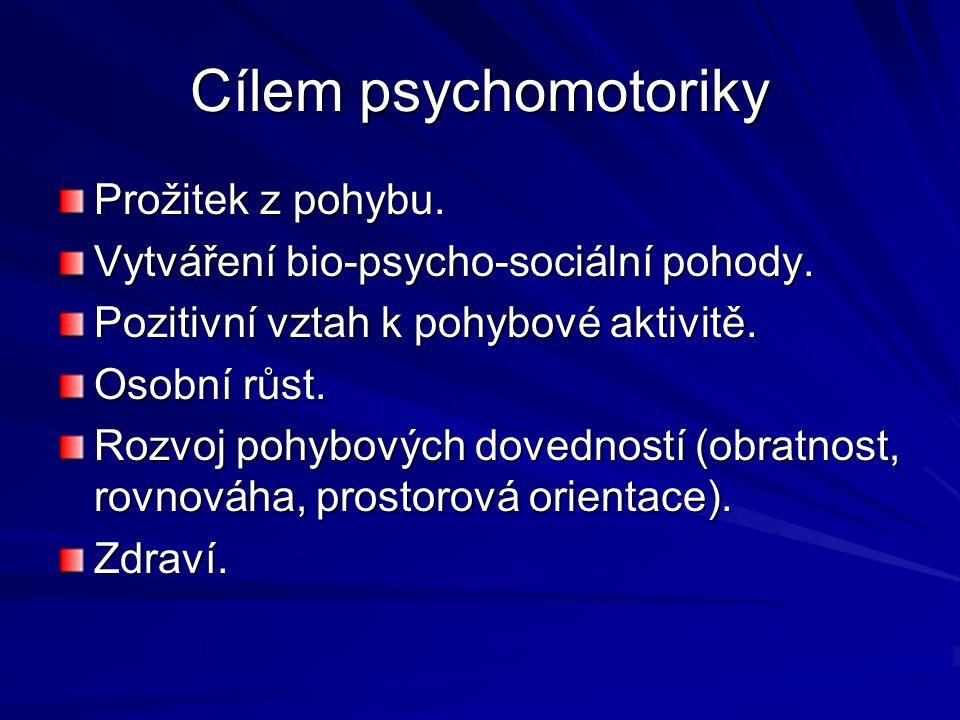 Cílem psychomotoriky Prožitek z pohybu. Vytváření bio-psycho-sociální pohody. Pozitivní vztah k pohybové aktivitě. Osobní růst. Rozvoj pohybových dove