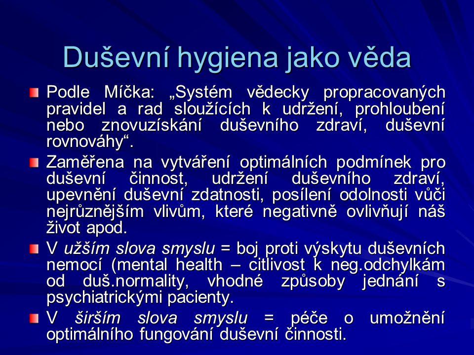 """Duševní hygiena jako věda Podle Míčka: """"Systém vědecky propracovaných pravidel a rad sloužících k udržení, prohloubení nebo znovuzískání duševního zdr"""