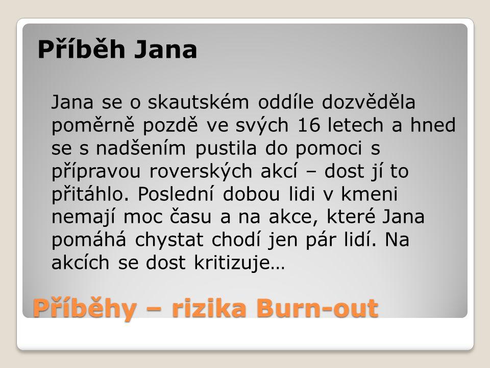 Příběhy – rizika Burn-out Příběh Jana Jana se o skautském oddíle dozvěděla poměrně pozdě ve svých 16 letech a hned se s nadšením pustila do pomoci s přípravou roverských akcí – dost jí to přitáhlo.