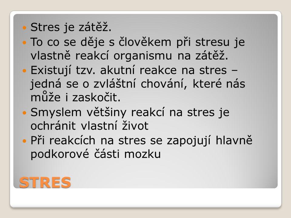 STRES Stres je zátěž.To co se děje s člověkem při stresu je vlastně reakcí organismu na zátěž.