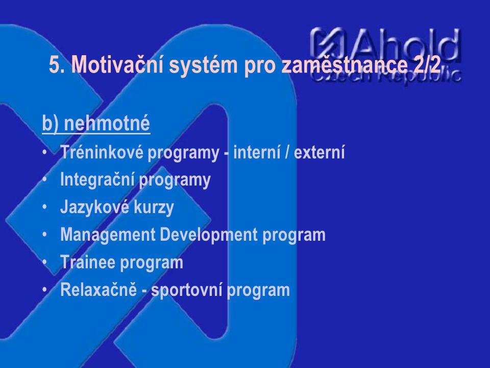5. Motivační systém pro zaměstnance 1/2 a) hmotné bonusový systém roční hodnocení příspěvek na stravování příspěvek na MHD příspěvek na bydlení, přest