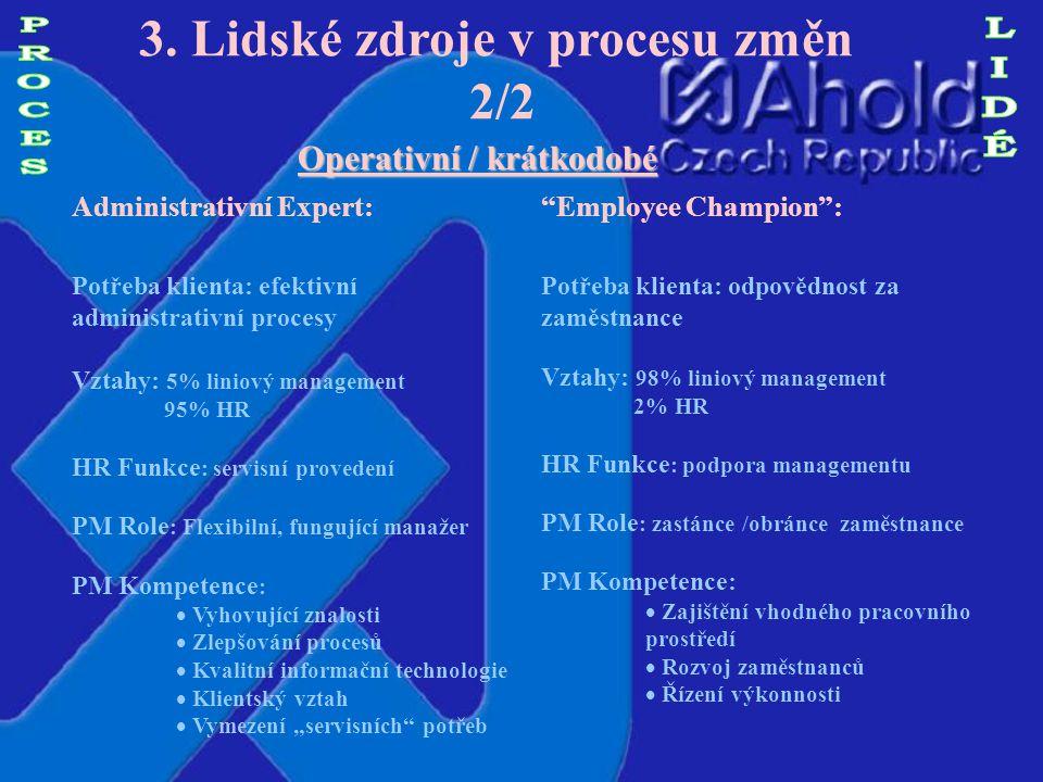 3. Lidské zdroje v procesu změn 1/2 Strategické / dlouhodobé Strategický partner Potřeba klienta: HR strategie v souladu s obchodními plány Vztahy : 8