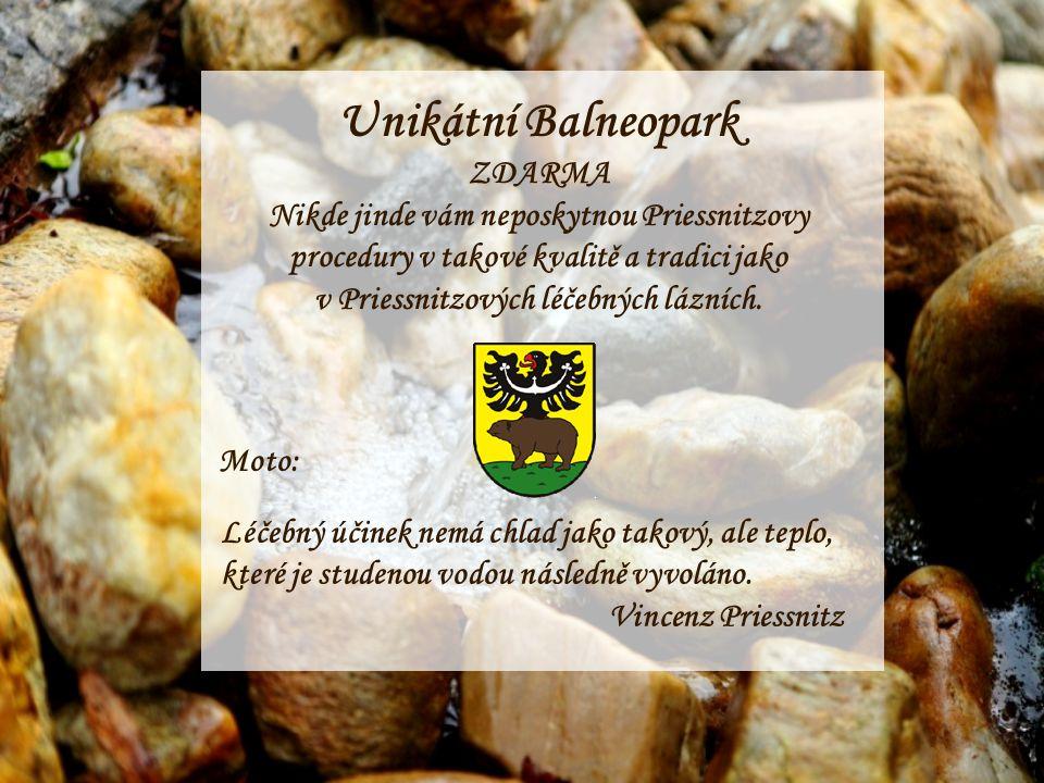 Unikátní Balneopark ZDARMA Nikde jinde vám neposkytnou Priessnitzovy procedury v takové kvalitě a tradici jako v Priessnitzových léčebných lázních.
