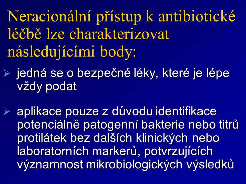 Neracionální přístup k antibiotické léčbě lze charakterizovat následujícími body:  jedná se o bezpečné léky, které je lépe vždy podat  aplikace pouz
