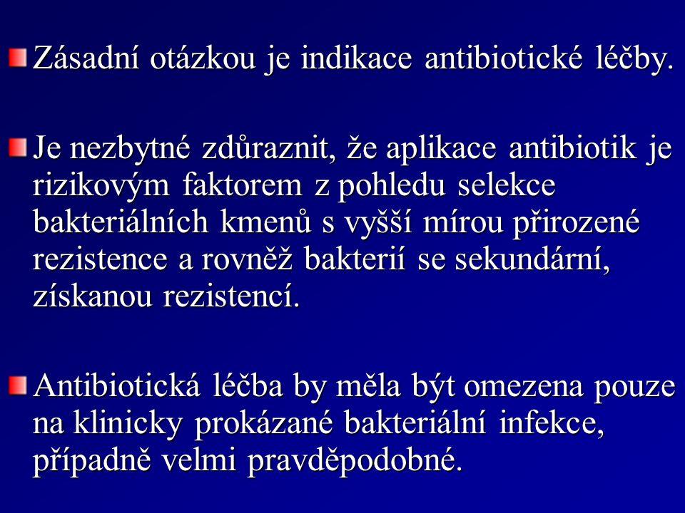 Zásadní otázkou je indikace antibiotické léčby. Je nezbytné zdůraznit, že aplikace antibiotik je rizikovým faktorem z pohledu selekce bakteriálních km