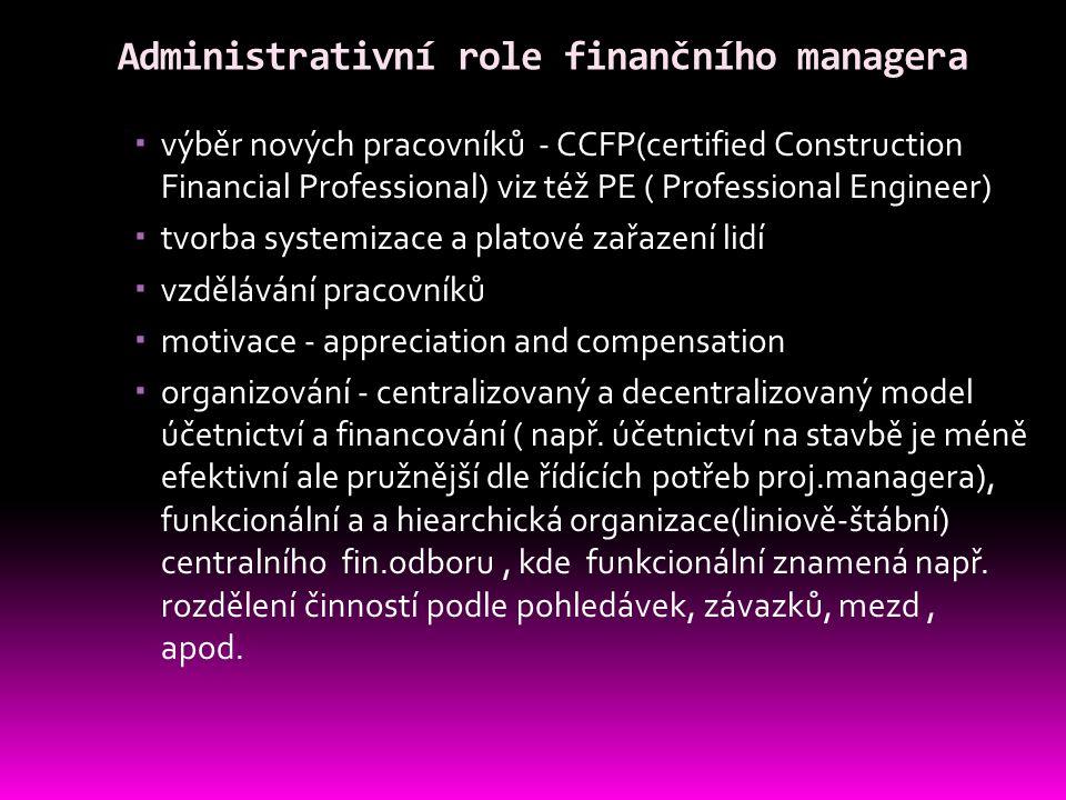 Administrativní role finančního managera  výběr nových pracovníků - CCFP(certified Construction Financial Professional) viz též PE ( Professional Eng