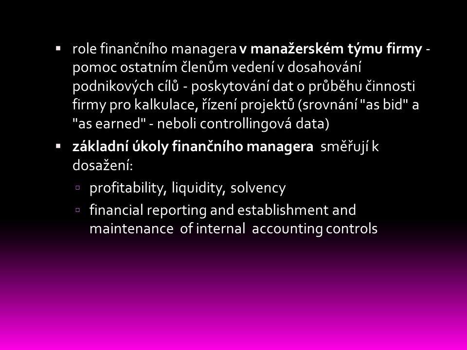 Odpovědnost finančního managera vůči vlastníkům firmy  fin.manager jako reprezentant vlastníků - v roli ochránce majetku firmy vstupuje do všech oblastí života firmy  treasury - role správce likvidního majetku firmy (vč.zabezpečení proti theft, fraud and misappropriation)  finanční výkaznictví odpovídající realitě bez skrytých položek