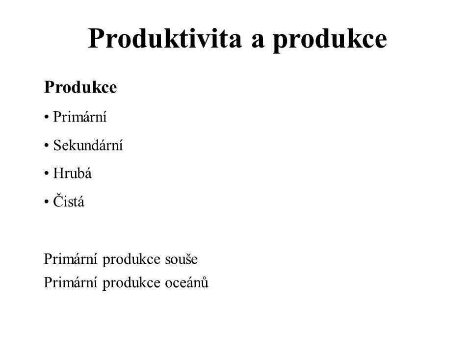 Produktivita a produkce Produkce Primární Sekundární Hrubá Čistá Primární produkce souše Primární produkce oceánů