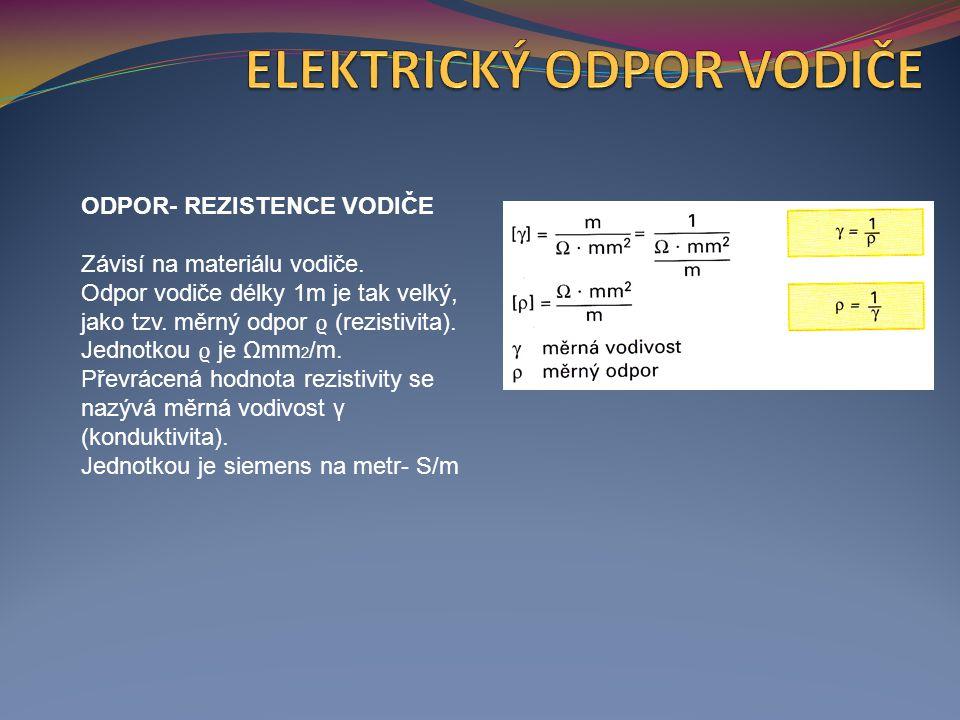 ODPOR- REZISTENCE VODIČE Dobré vodiče obsahují mnoho volných elektronů a mají malý měrný odpor.
