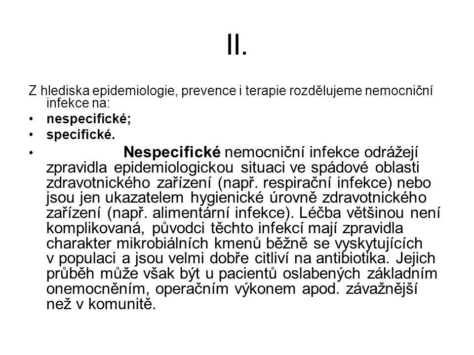 II. Z hlediska epidemiologie, prevence i terapie rozdělujeme nemocniční infekce na: nespecifické; specifické. Nespecifické nemocniční infekce odrážejí