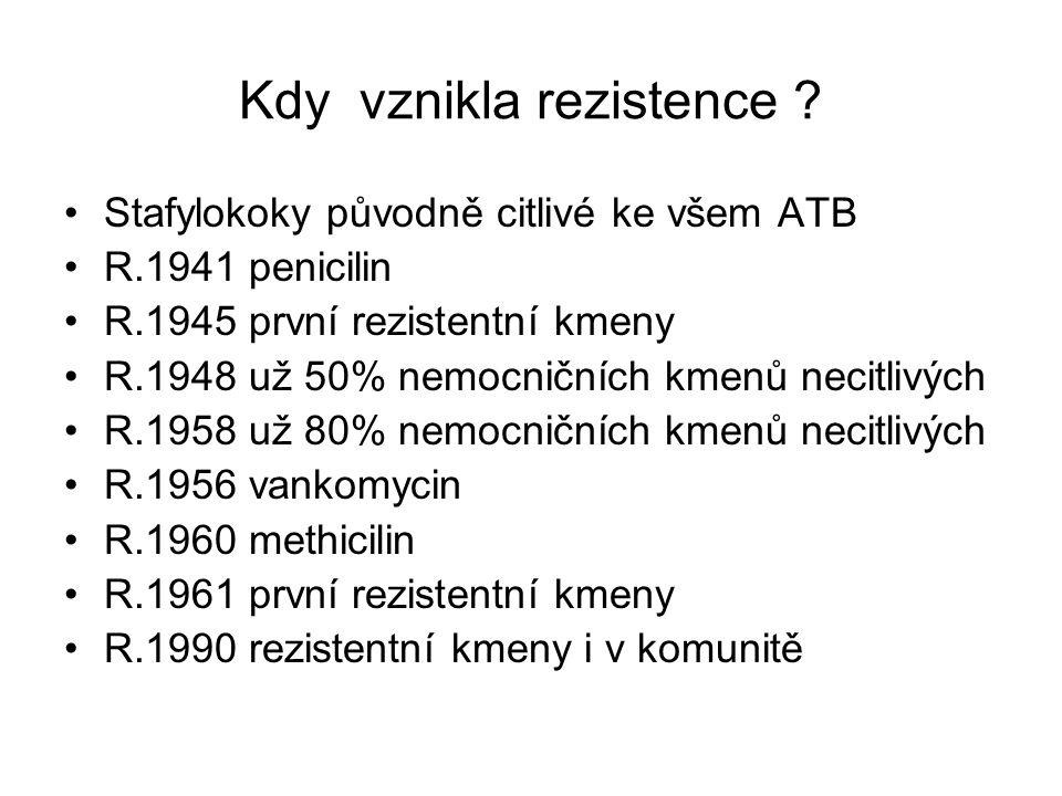 Kdy vznikla rezistence ? Stafylokoky původně citlivé ke všem ATB R.1941 penicilin R.1945 první rezistentní kmeny R.1948 už 50% nemocničních kmenů neci