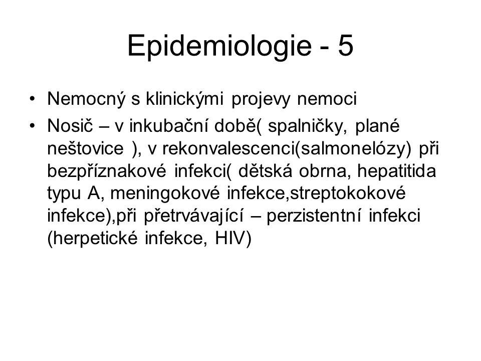 Epidemiologie - 5 Nemocný s klinickými projevy nemoci Nosič – v inkubační době( spalničky, plané neštovice ), v rekonvalescenci(salmonelózy) při bezpř