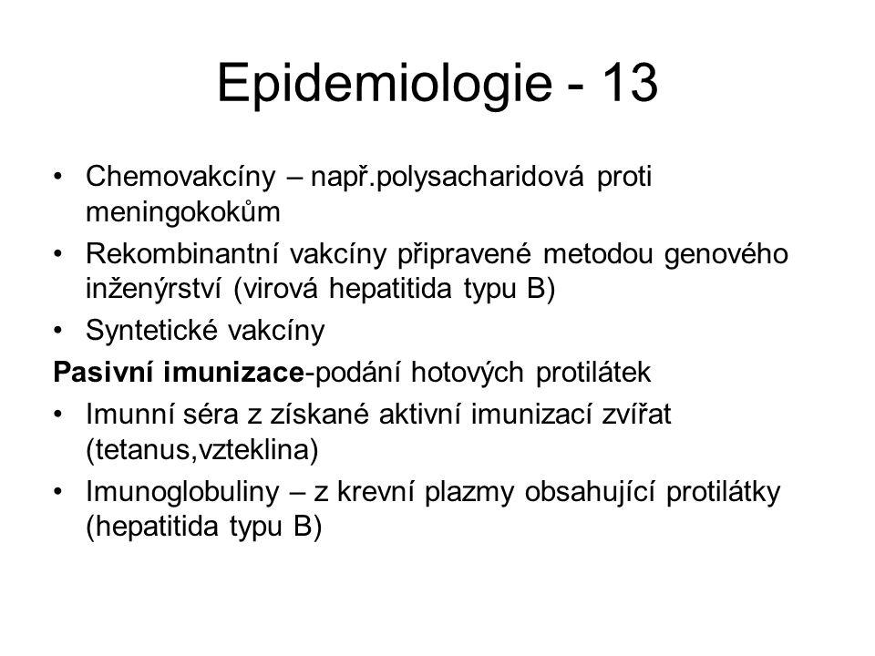 Epidemiologie - 13 Chemovakcíny – např.polysacharidová proti meningokokům Rekombinantní vakcíny připravené metodou genového inženýrství (virová hepati
