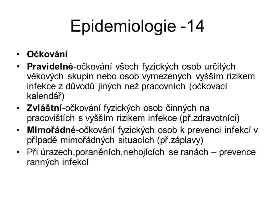 Epidemiologie -14 Očkování Pravidelné-očkování všech fyzických osob určitých věkových skupin nebo osob vymezených vyšším rizikem infekce z důvodů jiný