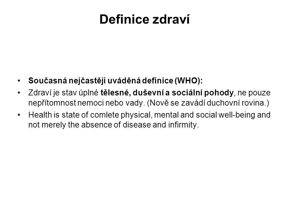 Definice zdraví Současná nejčastěji uváděná definice (WHO): Zdraví je stav úplné tělesné, duševní a sociální pohody, ne pouze nepřítomnost nemoci nebo