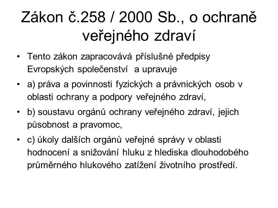 Zákon č.258 / 2000 Sb., o ochraně veřejného zdraví Tento zákon zapracovává příslušné předpisy Evropských společenství a upravuje a) práva a povinnosti