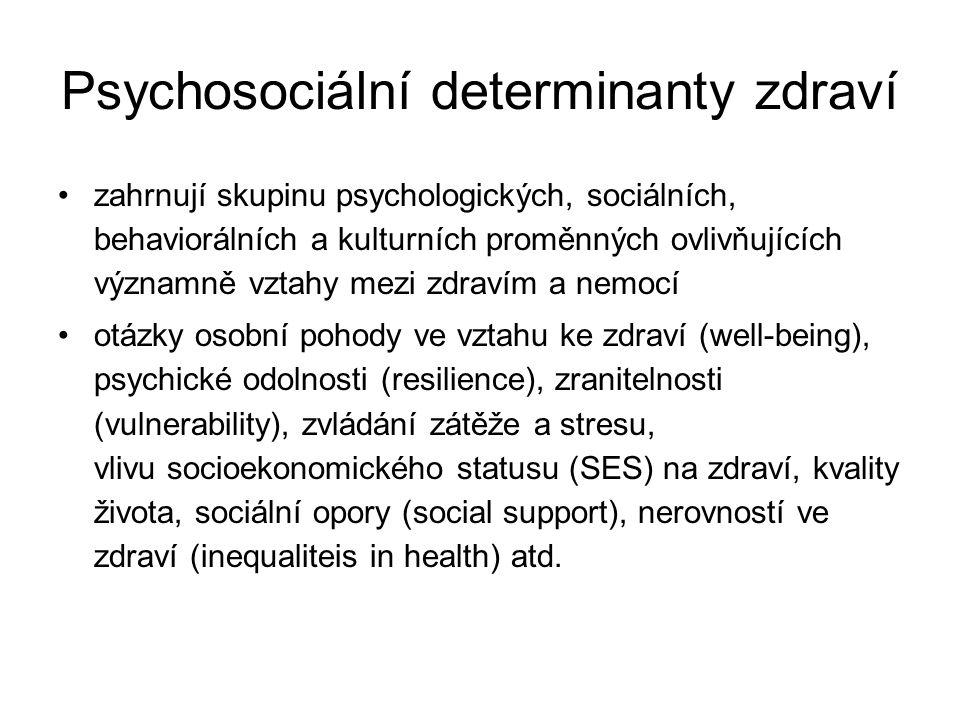 Psychosociální determinanty zdraví zahrnují skupinu psychologických, sociálních, behaviorálních a kulturních proměnných ovlivňujících významně vztahy
