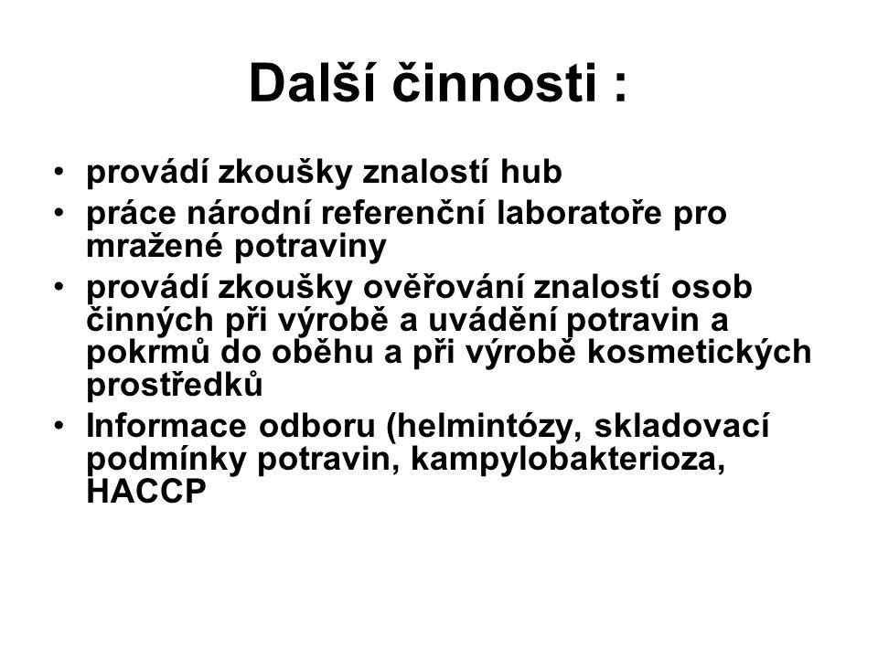 Další činnosti : provádí zkoušky znalostí hub práce národní referenční laboratoře pro mražené potraviny provádí zkoušky ověřování znalostí osob činnýc