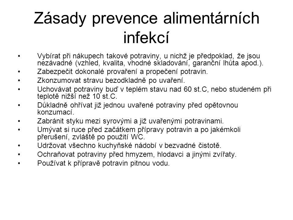 Zásady prevence alimentárních infekcí Vybírat při nákupech takové potraviny, u nichž je předpoklad, že jsou nezávadné (vzhled, kvalita, vhodné skladov