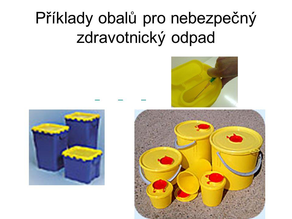 Příklady obalů pro nebezpečný zdravotnický odpad
