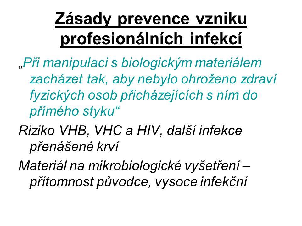 """Zásady prevence vzniku profesionálních infekcí """"Při manipulaci s biologickým materiálem zacházet tak, aby nebylo ohroženo zdraví fyzických osob přichá"""